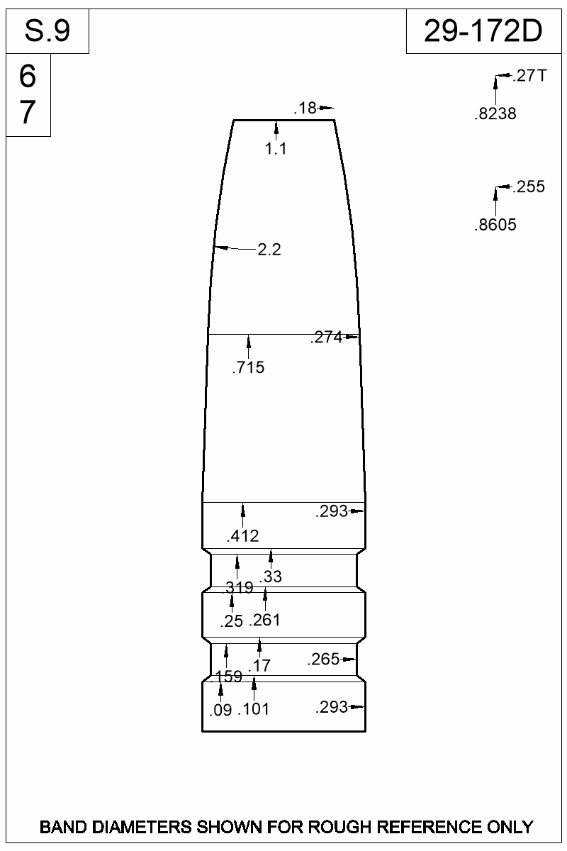 Dimensioned view of bullet 29-172D.