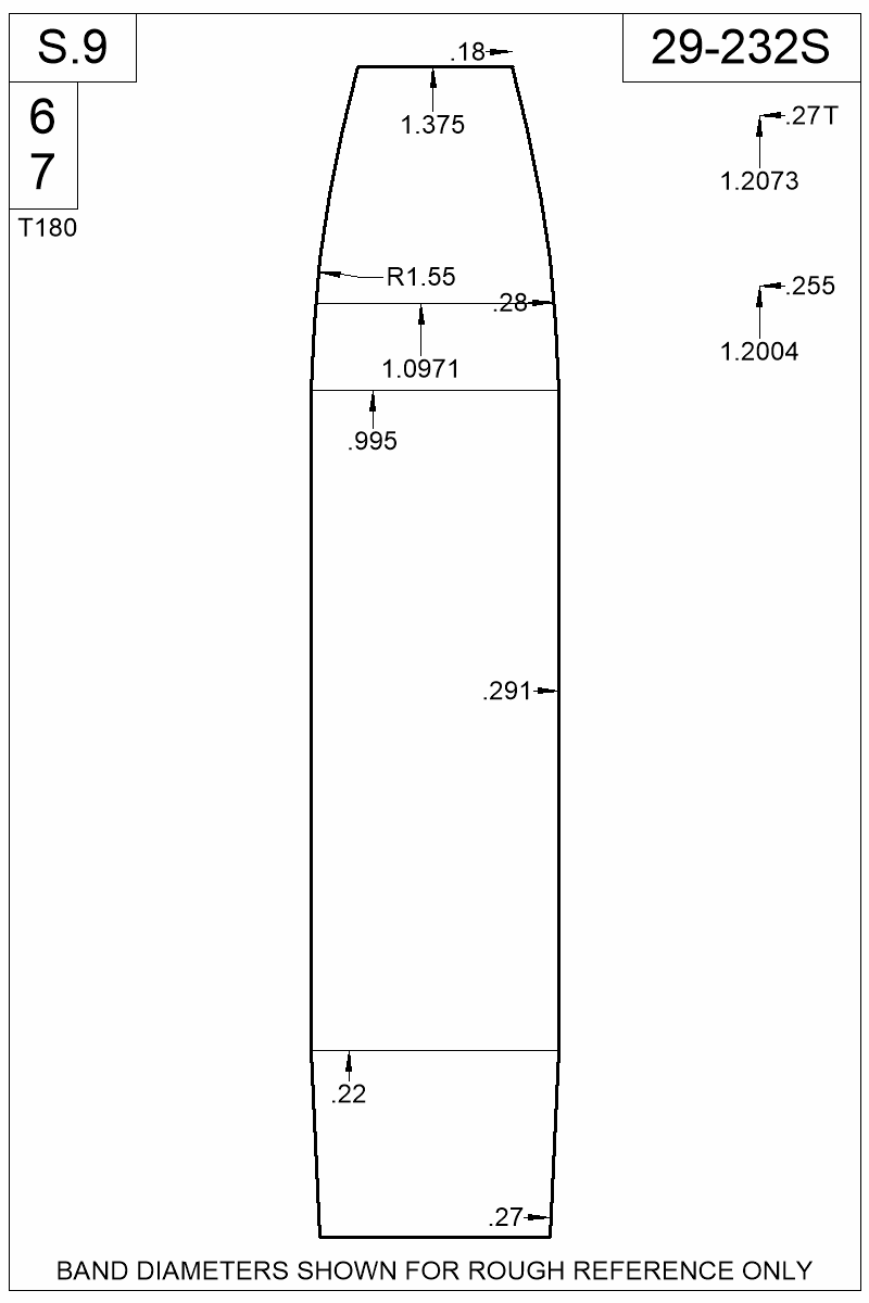 Dimensioned view of bullet 29-232S.