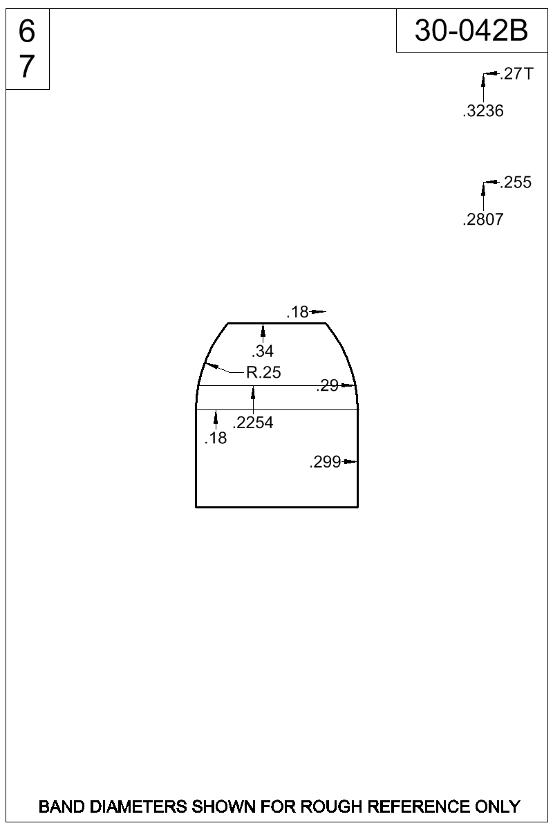 Dimensioned view of bullet 30-042B.