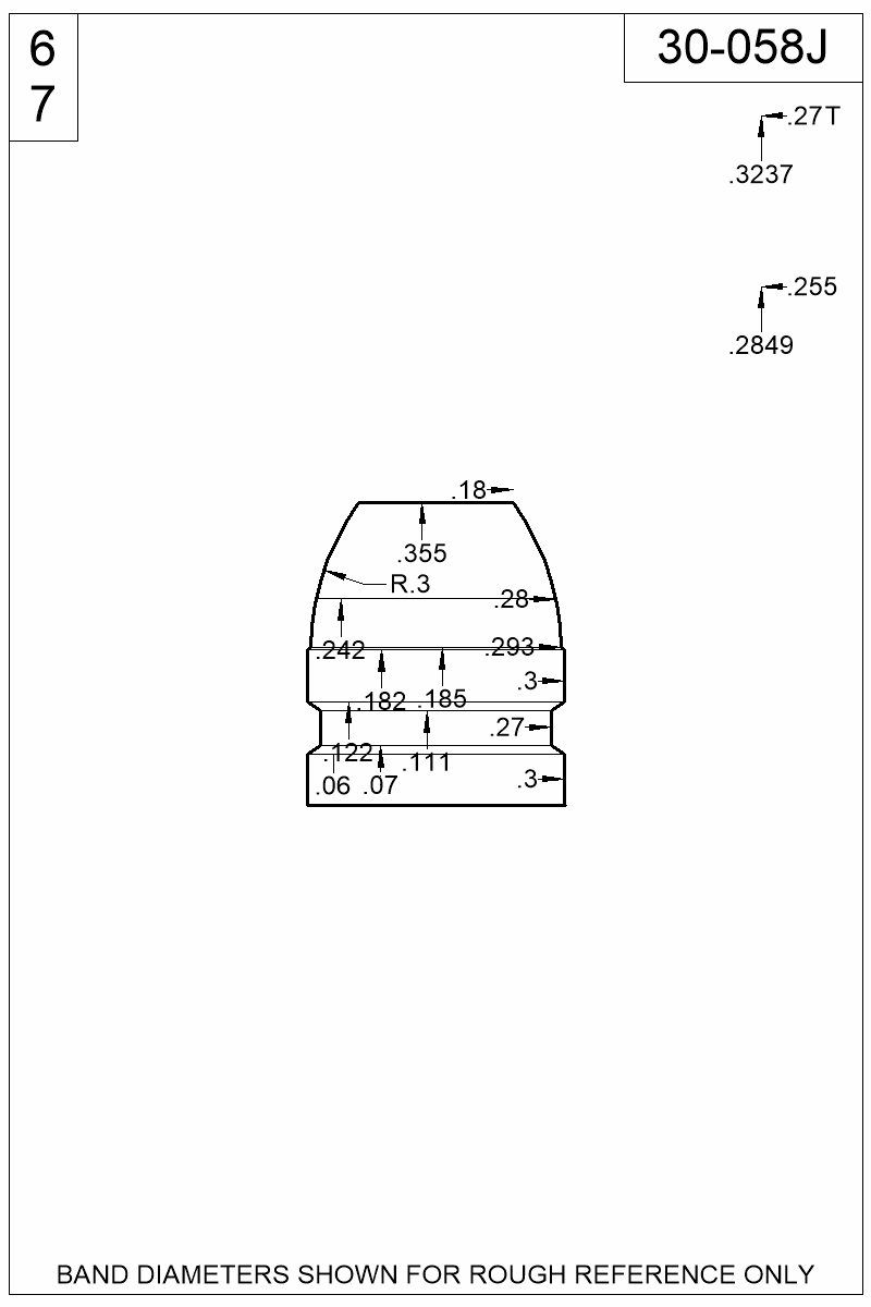Dimensioned view of bullet 30-058J.