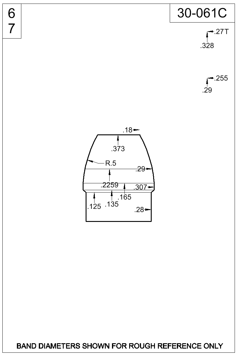 Dimensioned view of bullet 30-061C.