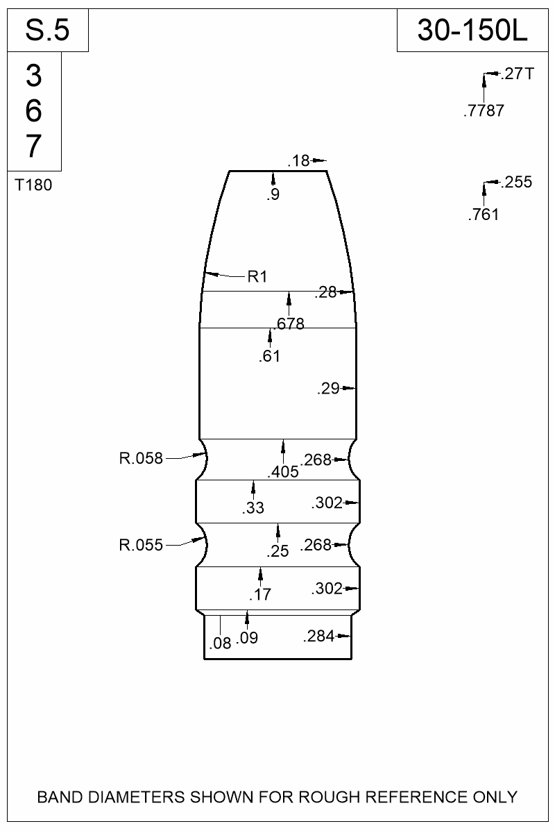 Dimensioned view of bullet 30-150L.