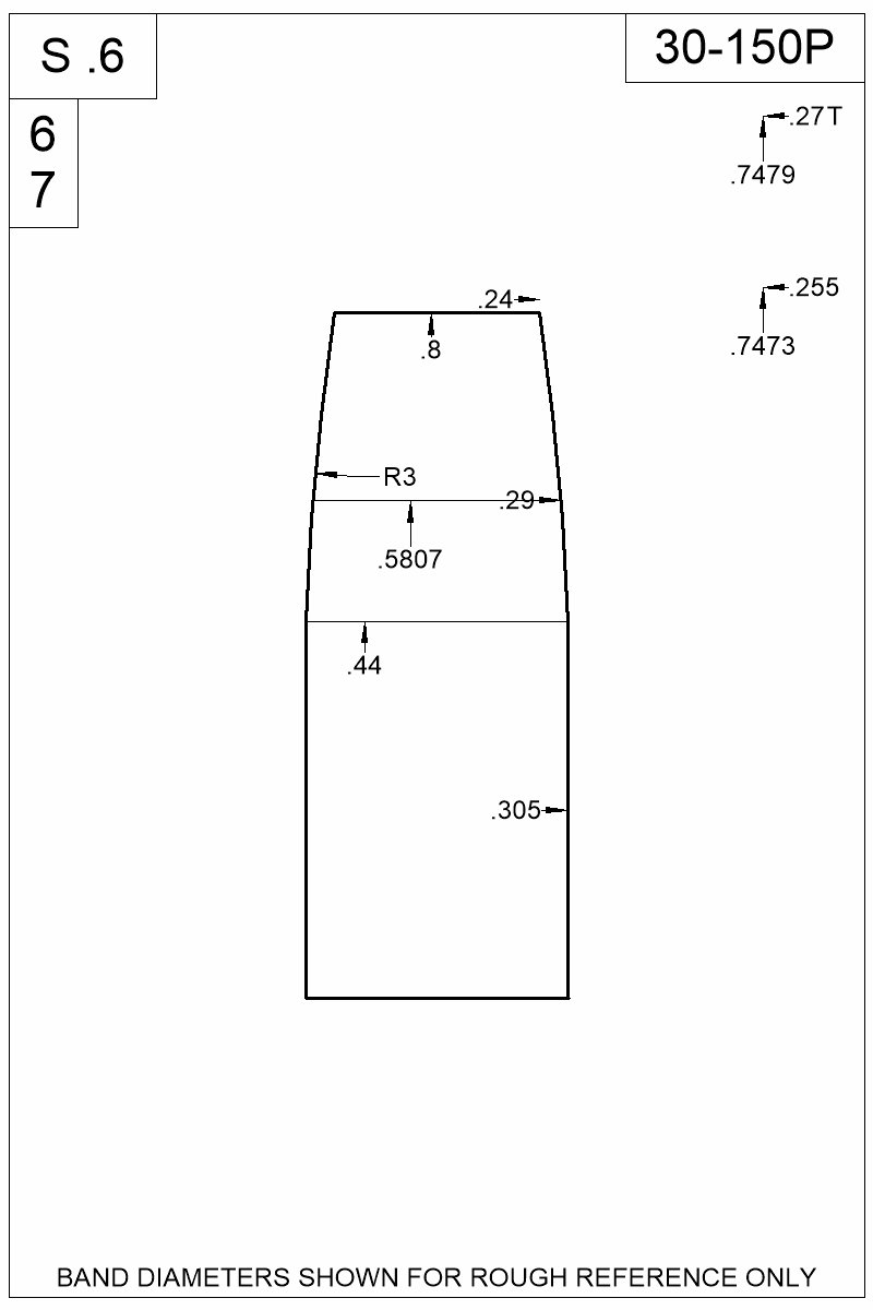 Dimensioned view of bullet 30-150P.