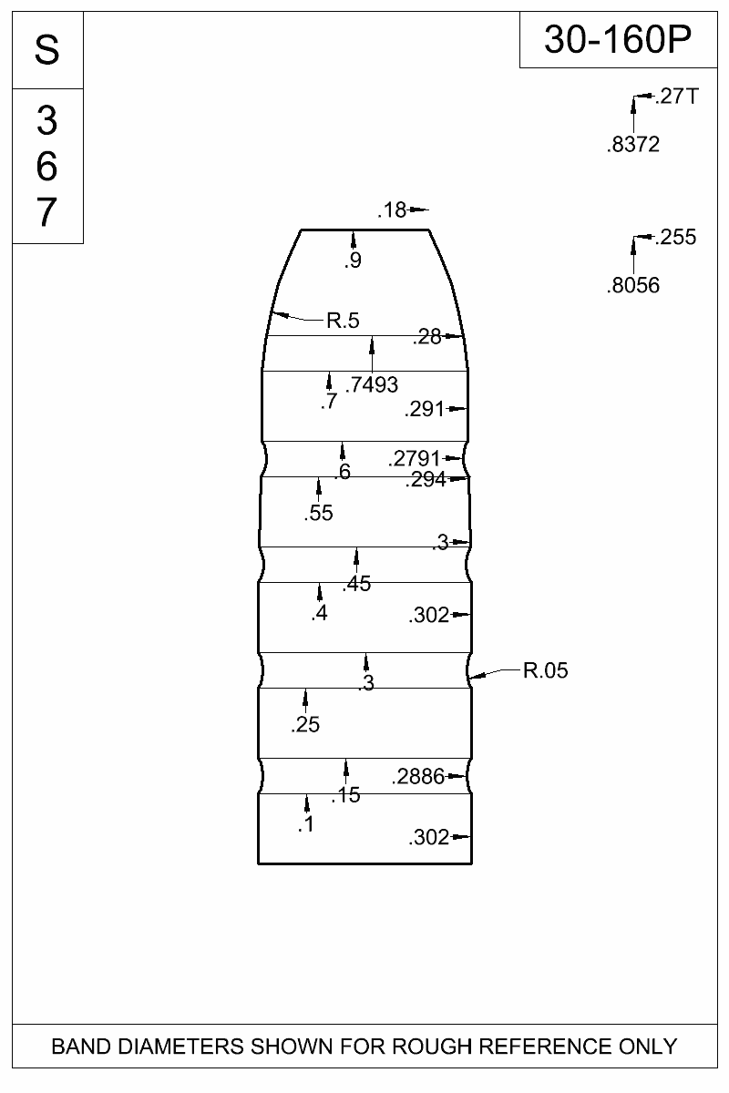 Dimensioned view of bullet 30-160P.