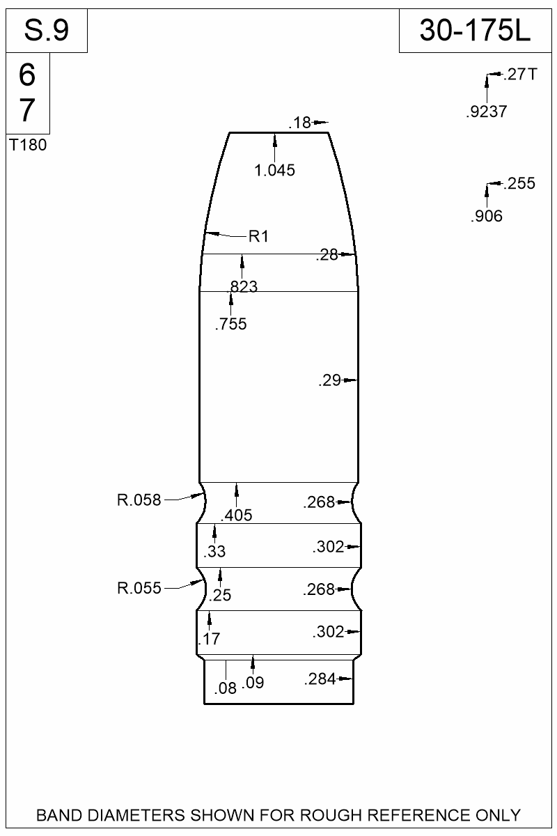 Dimensioned view of bullet 30-175L.