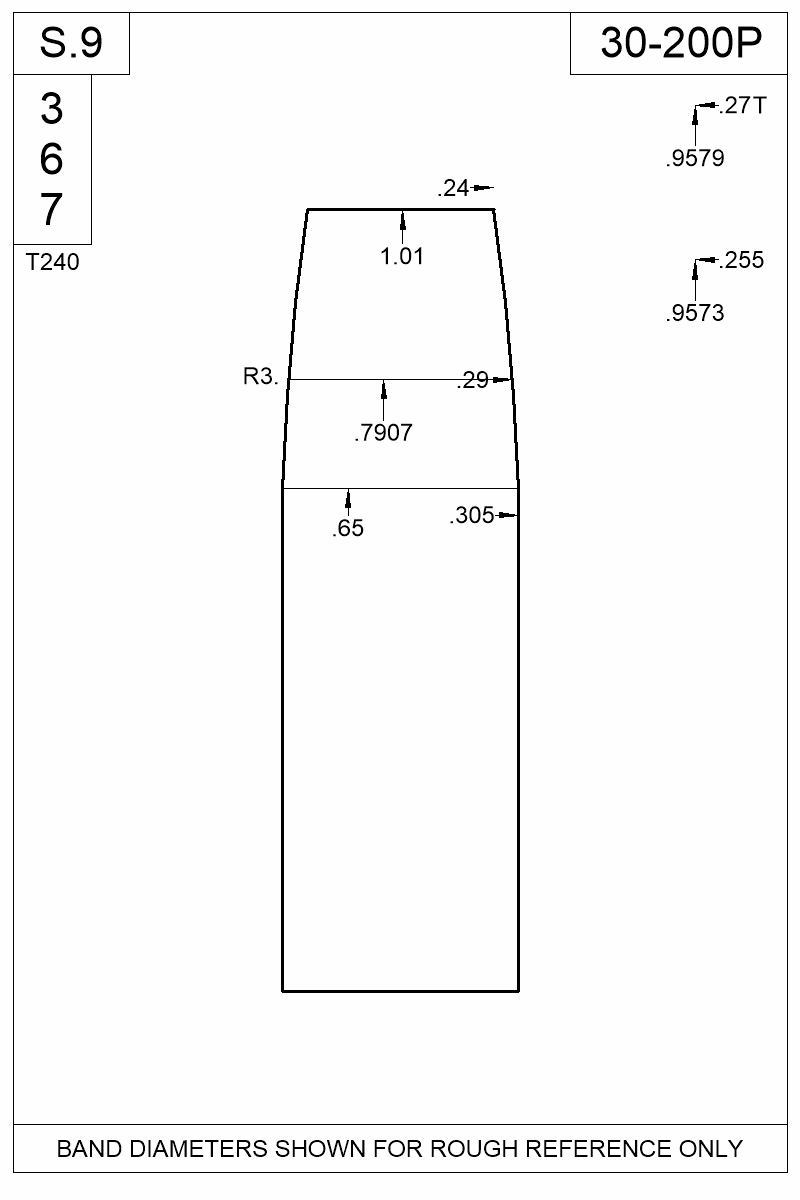 Dimensioned view of bullet 30-200P.