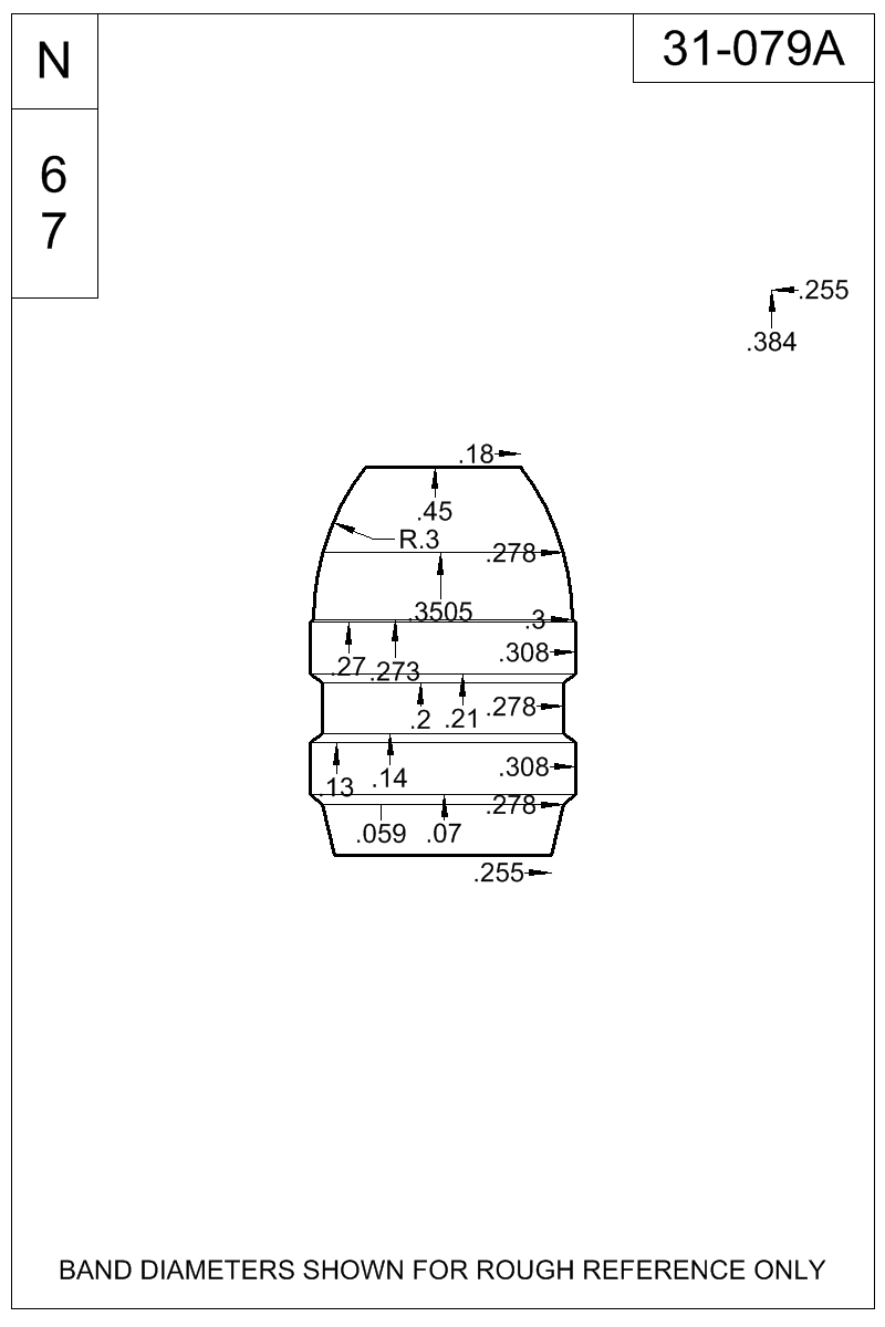 Dimensioned view of bullet 31-079A.