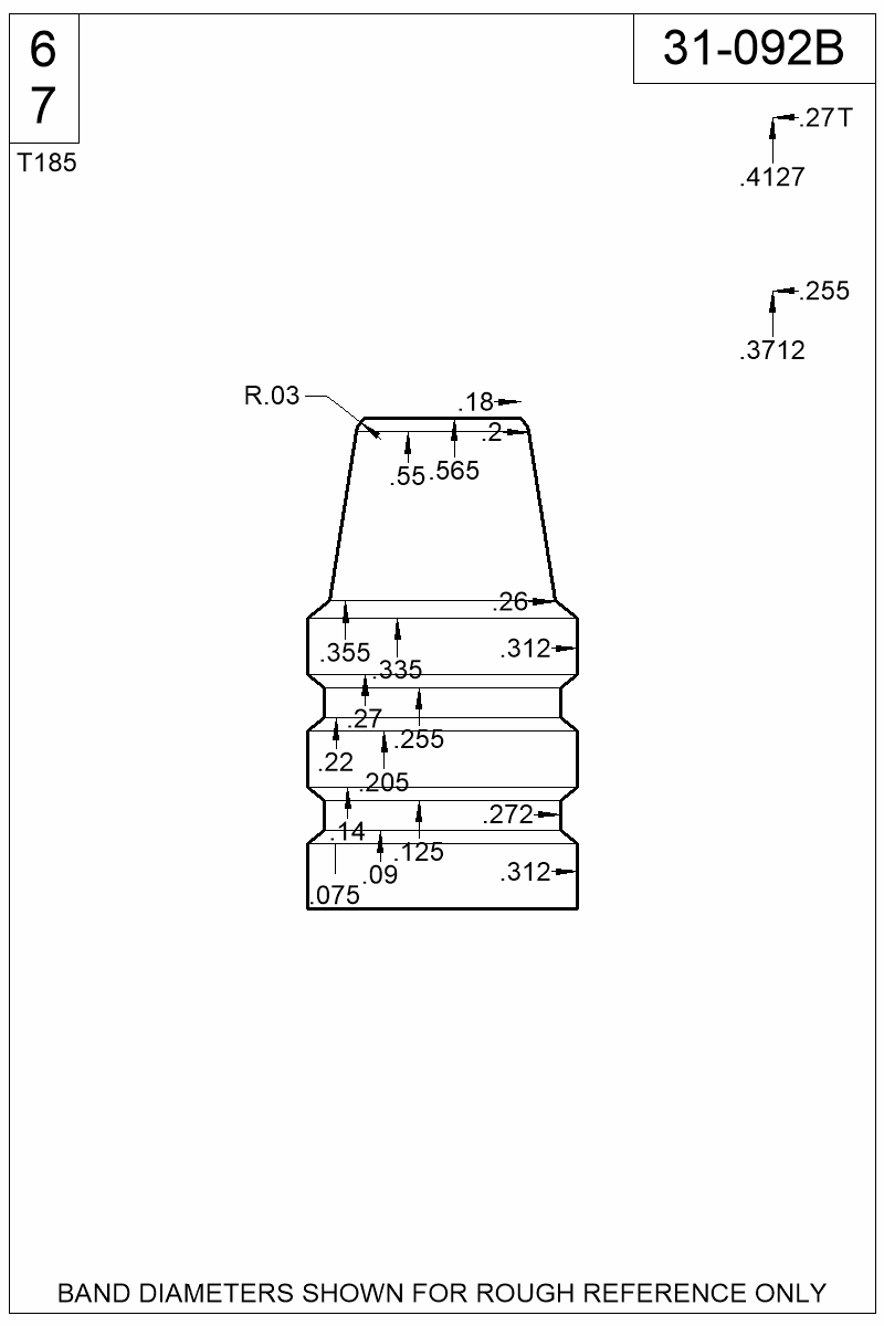 Dimensioned view of bullet 31-092B.