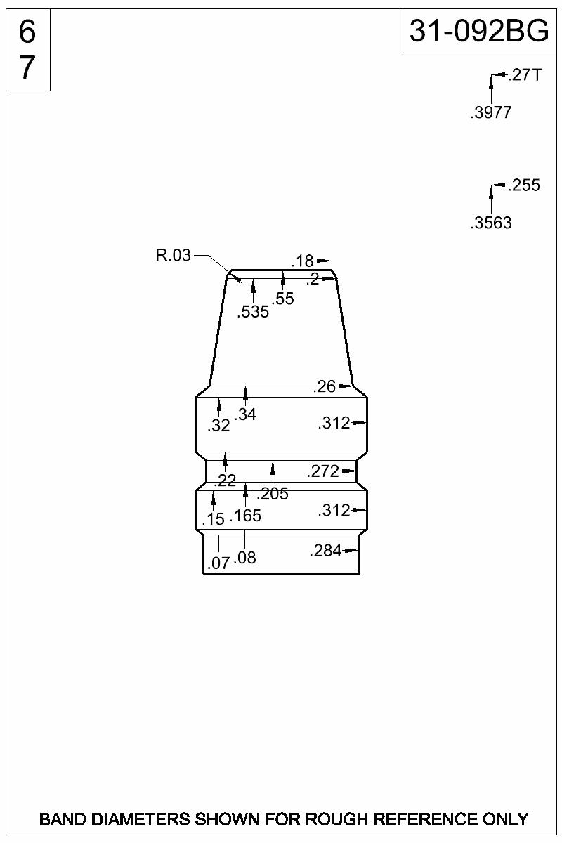 Dimensioned view of bullet 31-092BG.