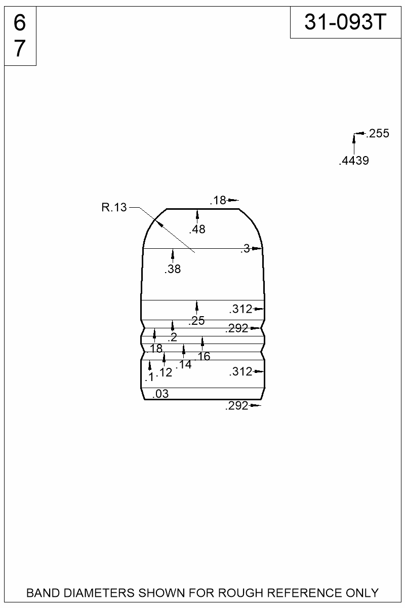 Dimensioned view of bullet 31-093T.