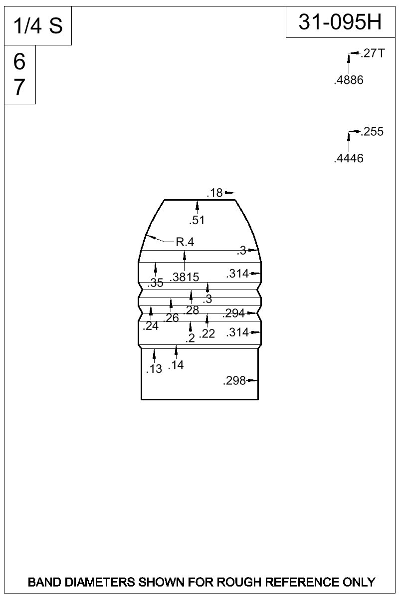 Dimensioned view of bullet 31-095H.