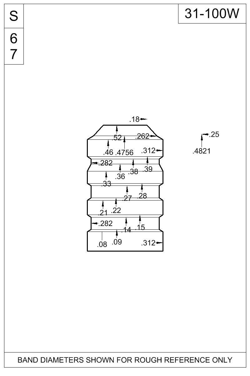 Dimensioned view of bullet 31-100W.