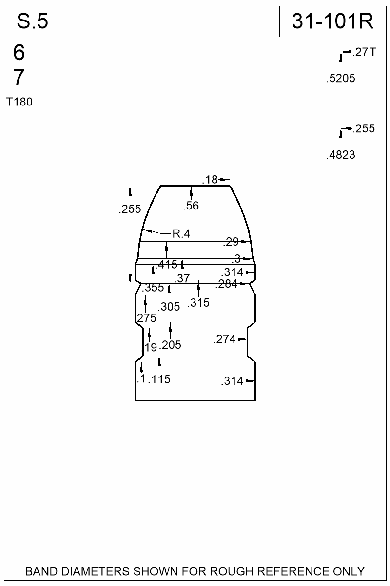 Dimensioned view of bullet 31-101R.