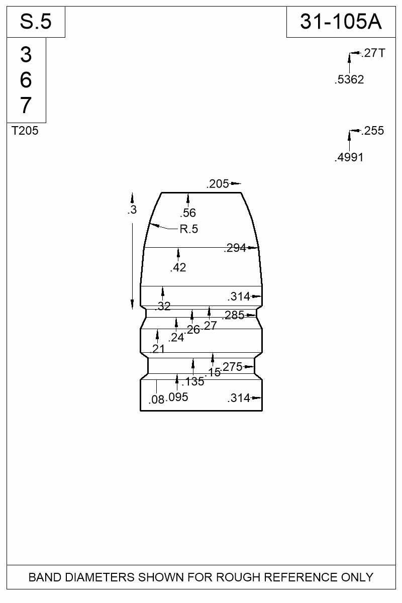 Dimensioned view of bullet 31-105A.