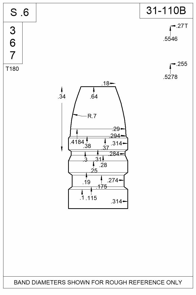 Dimensioned view of bullet 31-110B.