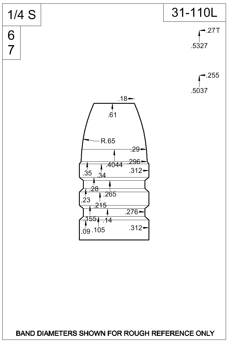 Dimensioned view of bullet 31-110L.
