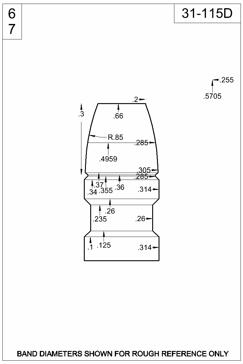 Dimensioned view of bullet 31-115D.