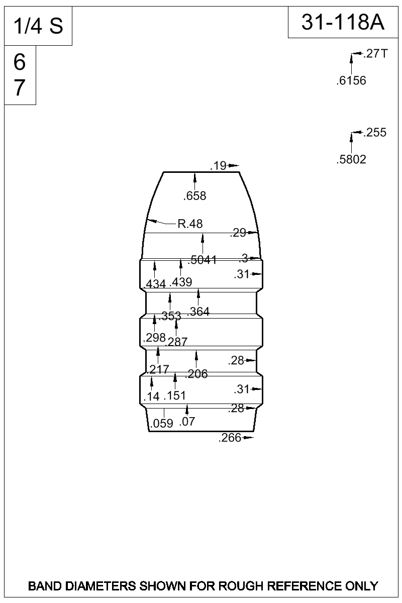 Dimensioned view of bullet 31-118A.