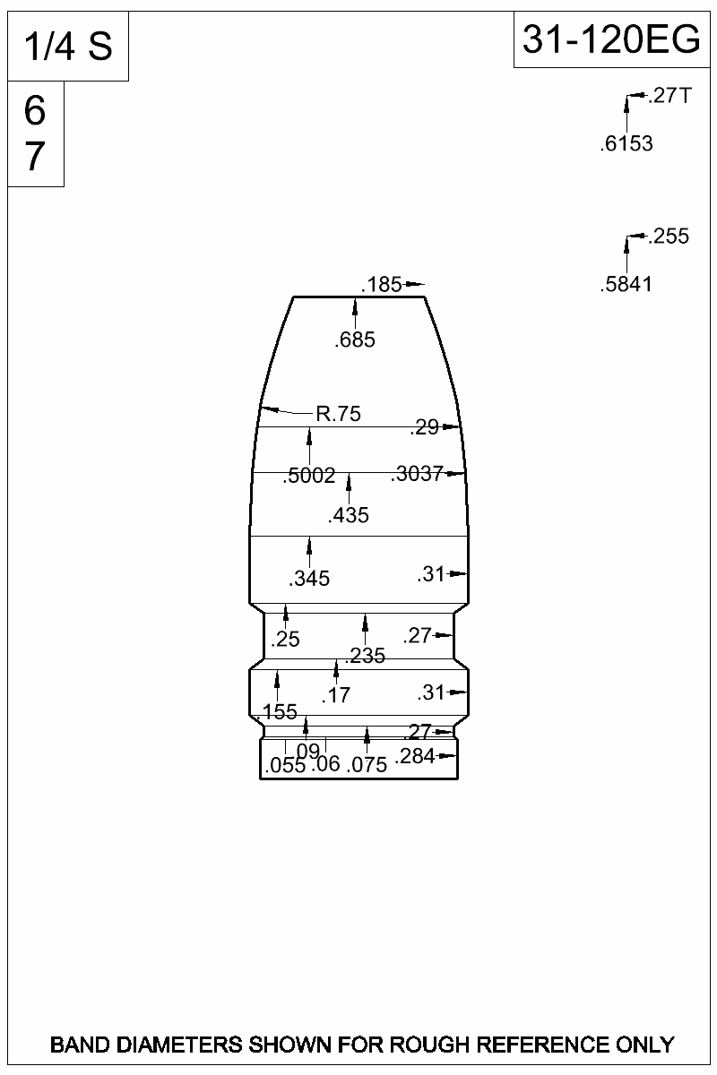 Dimensioned view of bullet 31-120EG.