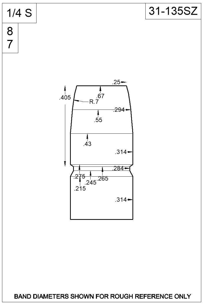 Dimensioned view of bullet 31-135SZ.