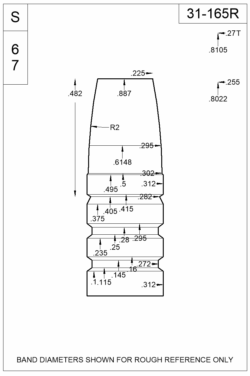 Dimensioned view of bullet 31-165R.
