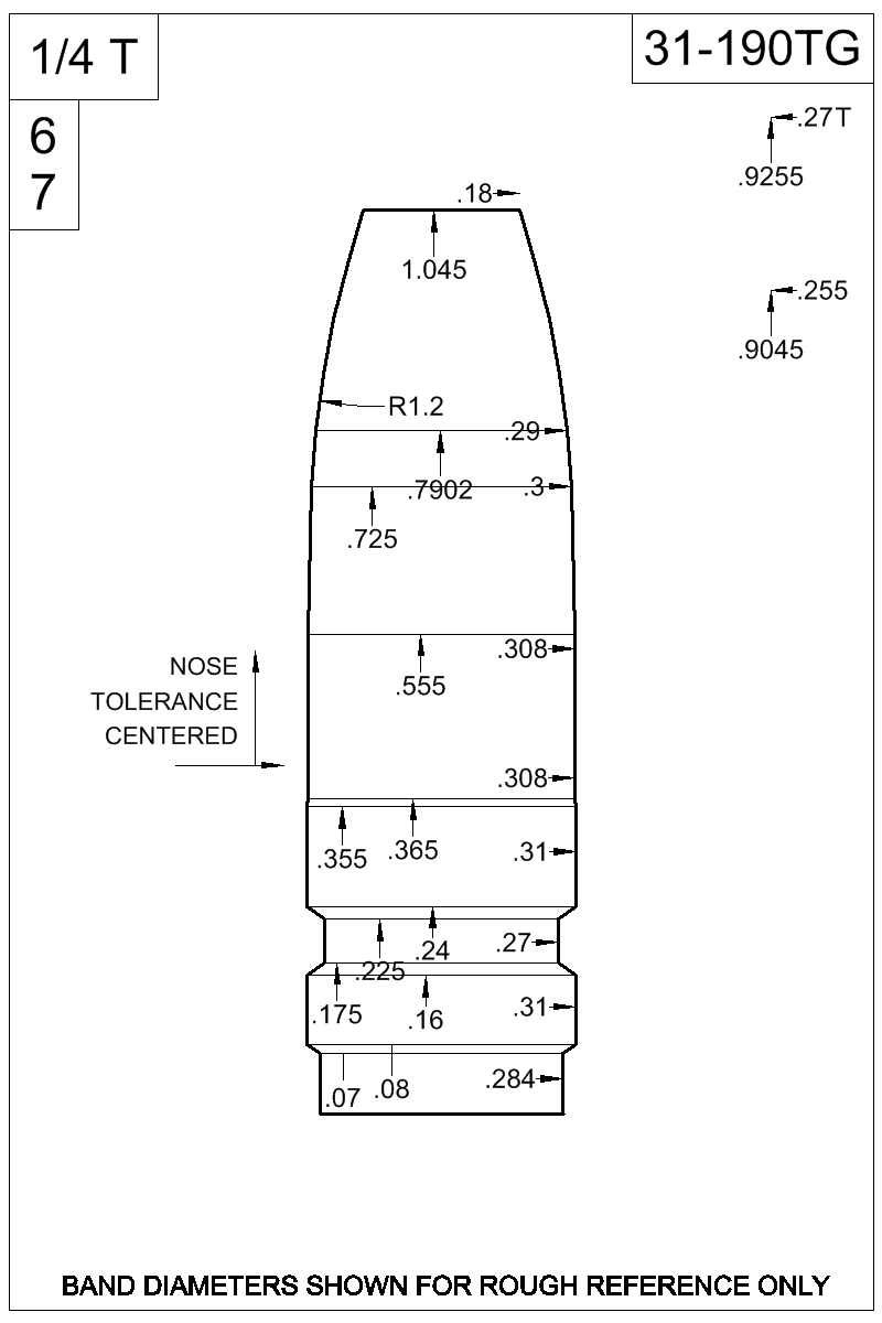 Dimensioned view of bullet 31-190TG.