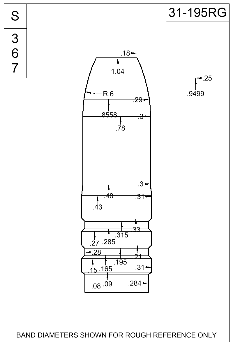 Dimensioned view of bullet 31-195RG.