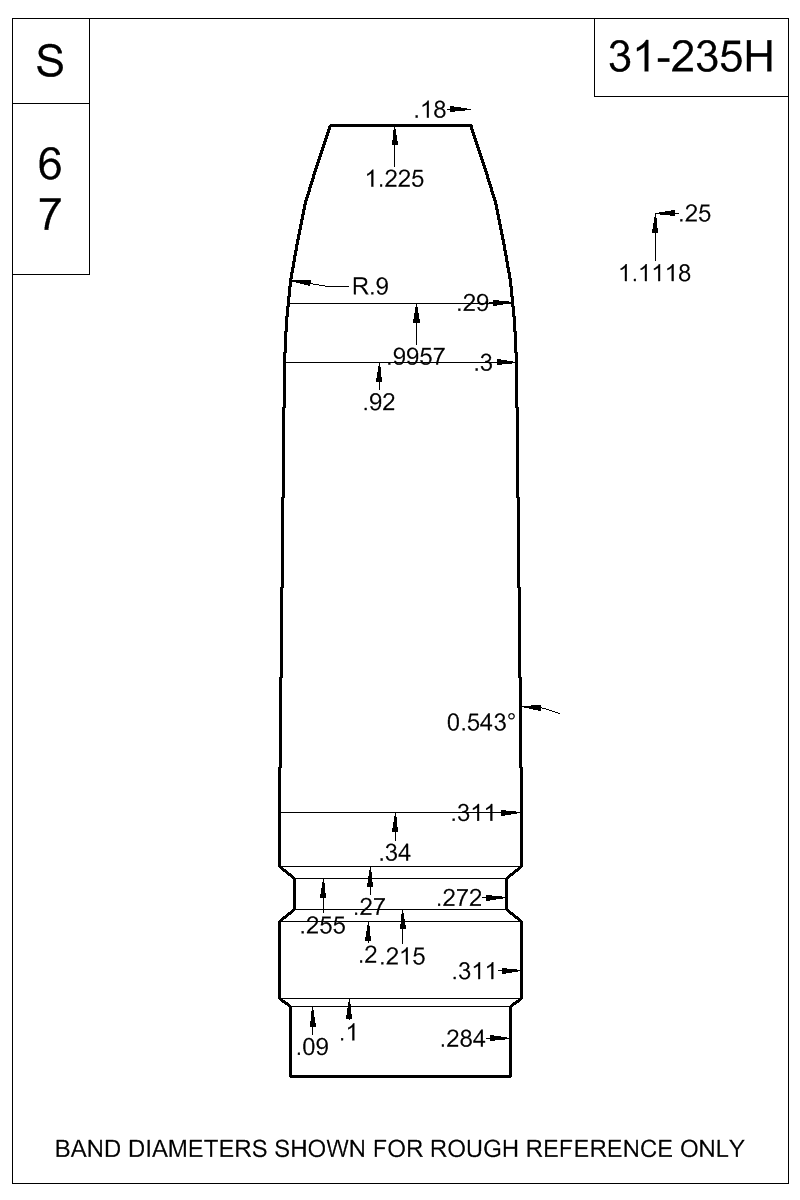 Dimensioned view of bullet 31-235H.