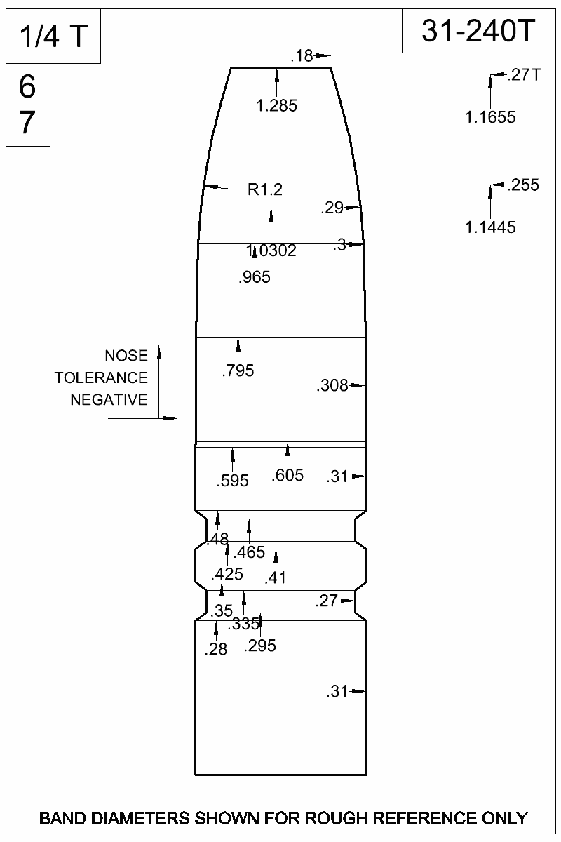 Dimensioned view of bullet 31-240T.