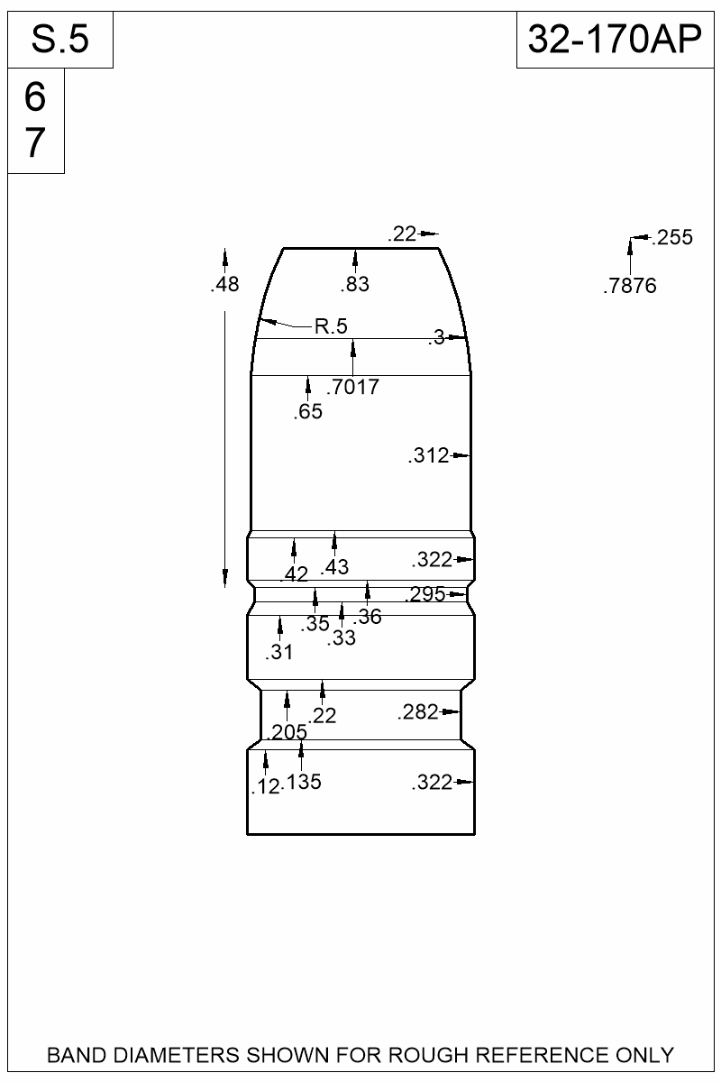 Dimensioned view of bullet 32-170AP.