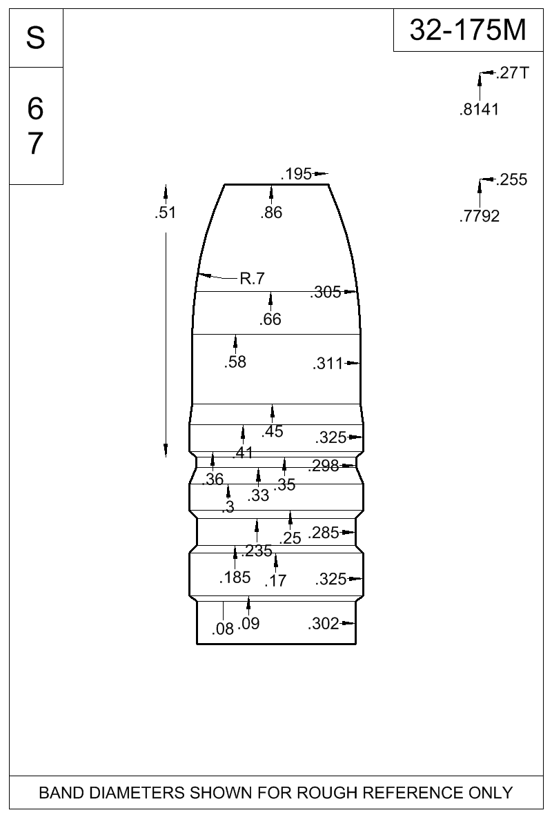 Dimensioned view of bullet 32-175M.
