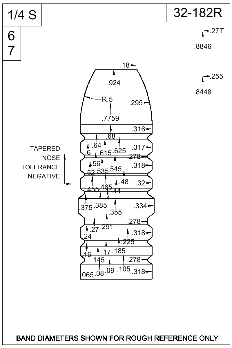 Dimensioned view of bullet 32-182R.