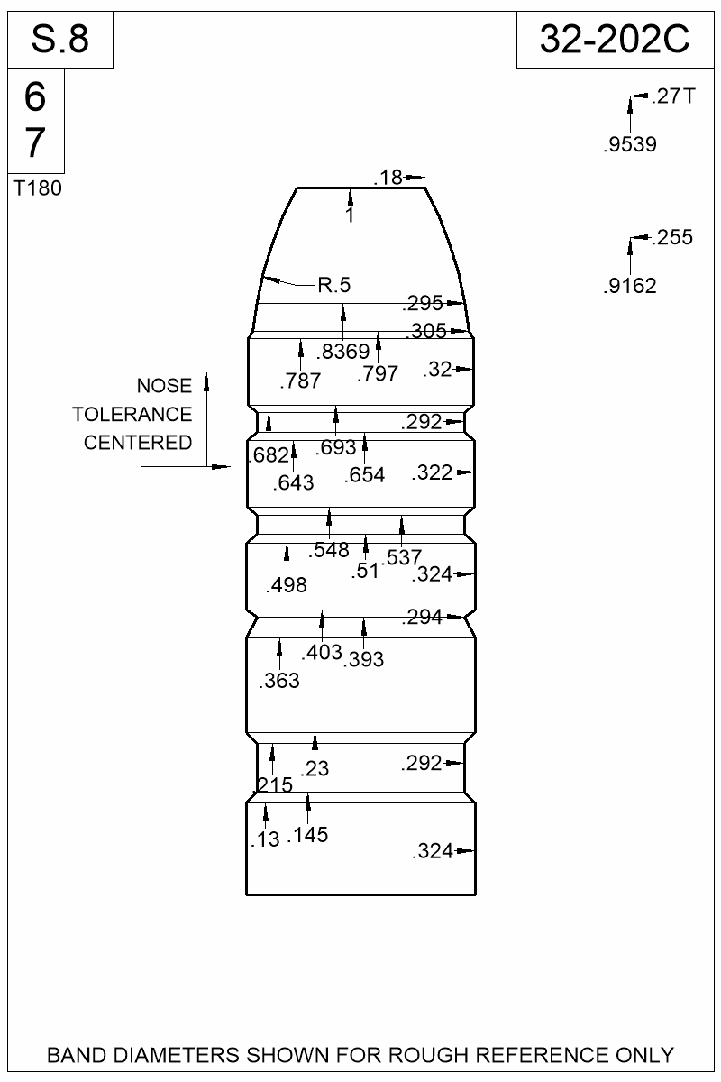 Dimensioned view of bullet 32-202C.