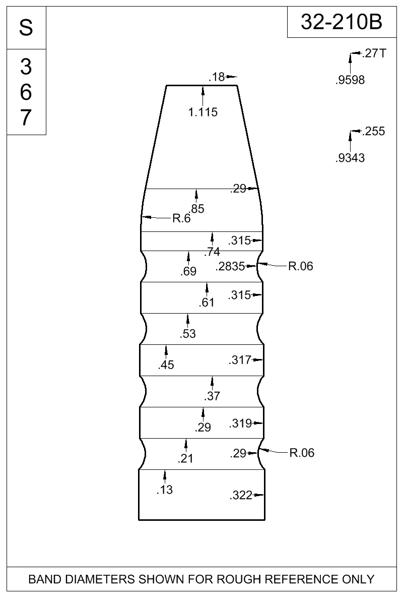 Dimensioned view of bullet 32-210B.