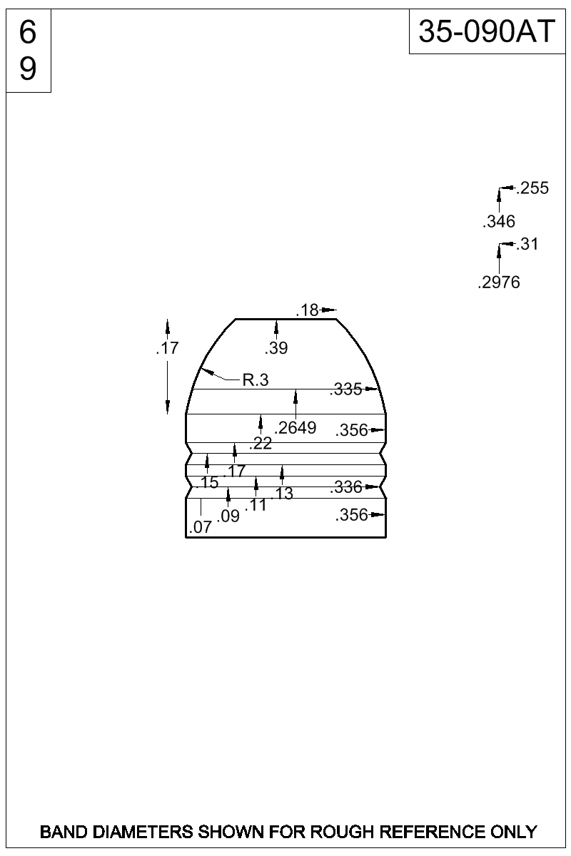 Dimensioned view of bullet 35-090AT.