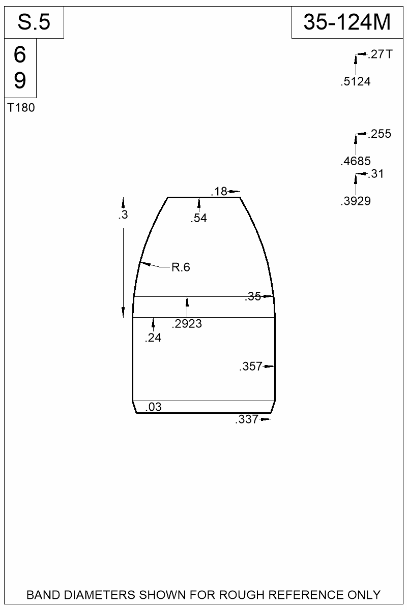 Dimensioned view of bullet 35-124M.