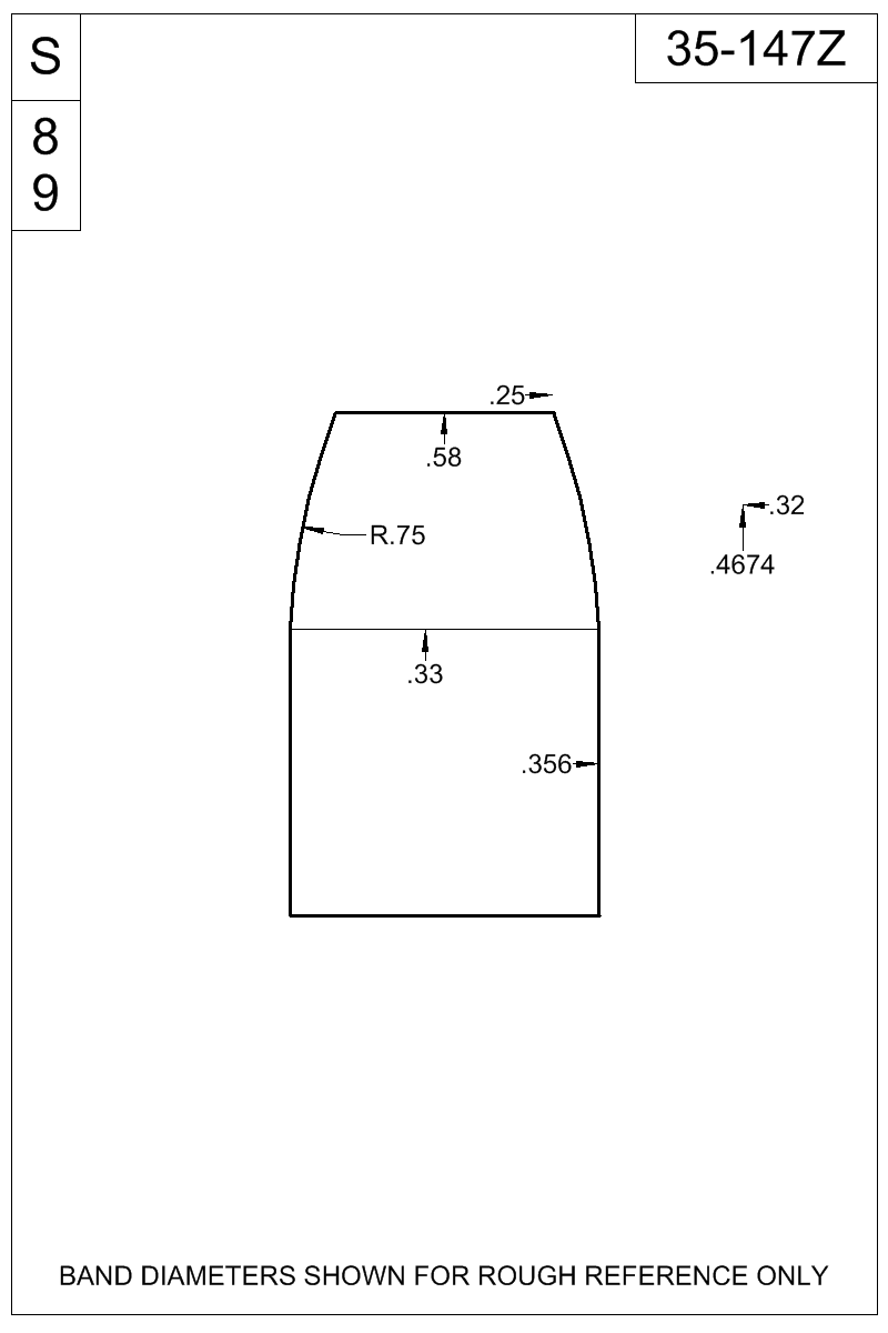 Dimensioned view of bullet 35-147Z.