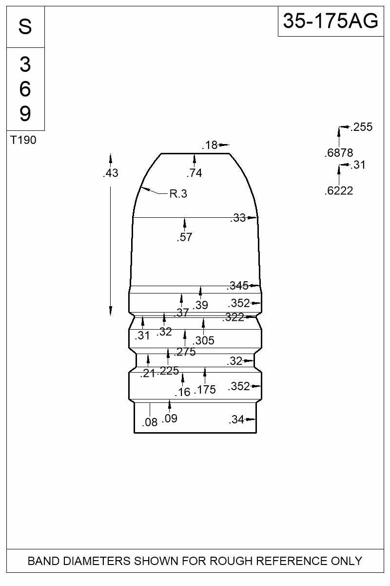 Dimensioned view of bullet 35-175AG.