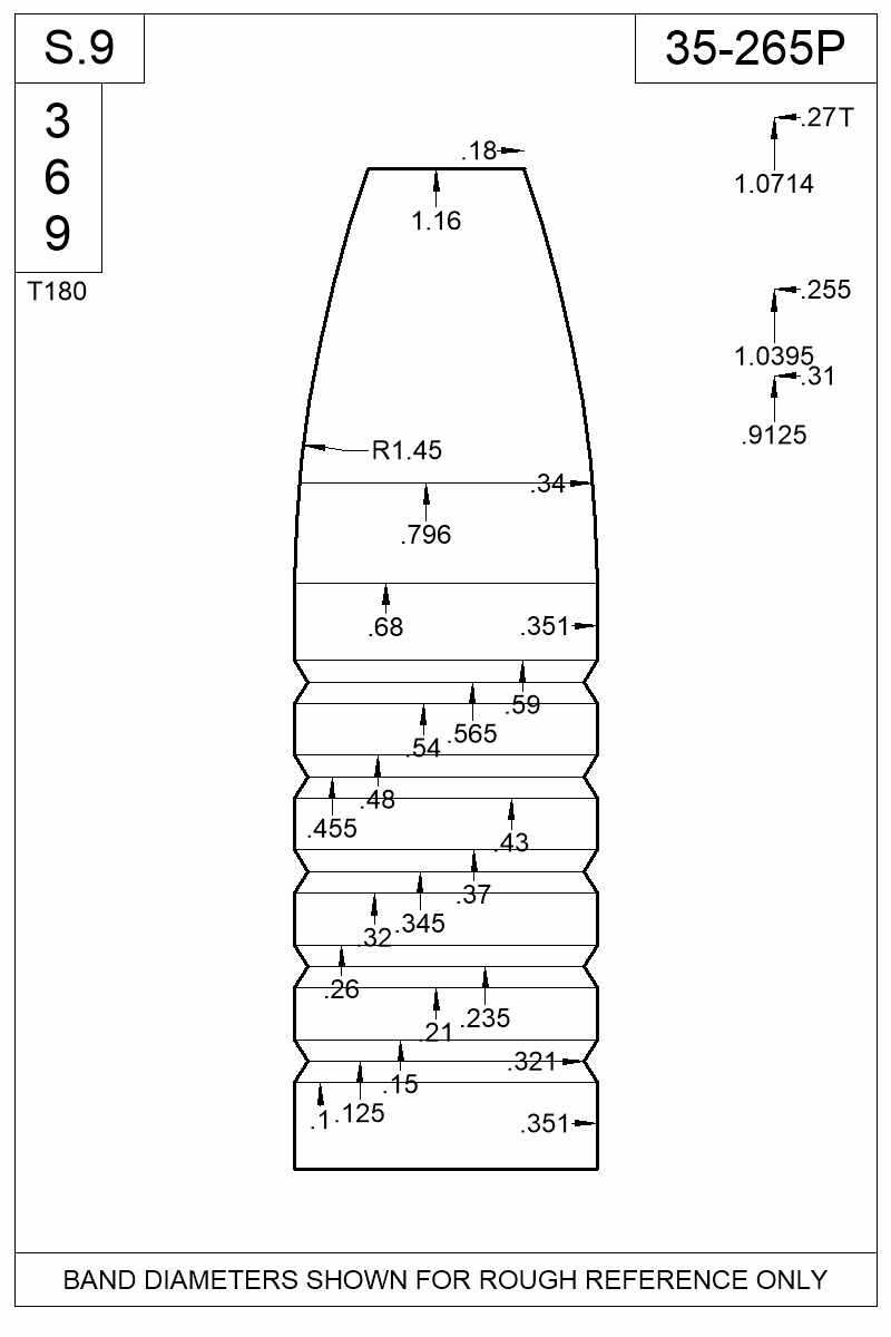 Dimensioned view of bullet 35-265P.