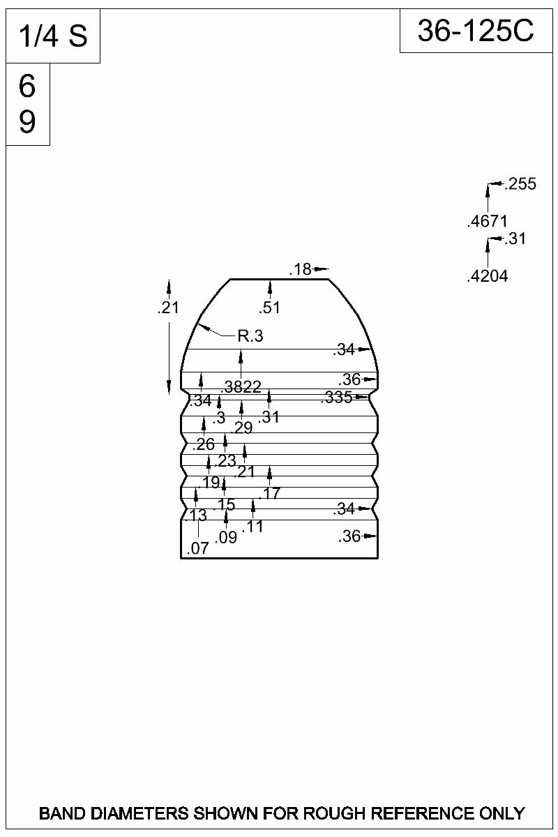 Dimensioned view of bullet 36-125C.