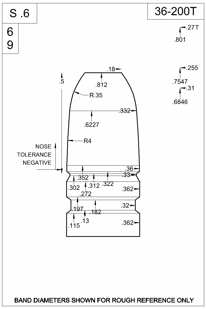 Dimensioned view of bullet 36-200T.