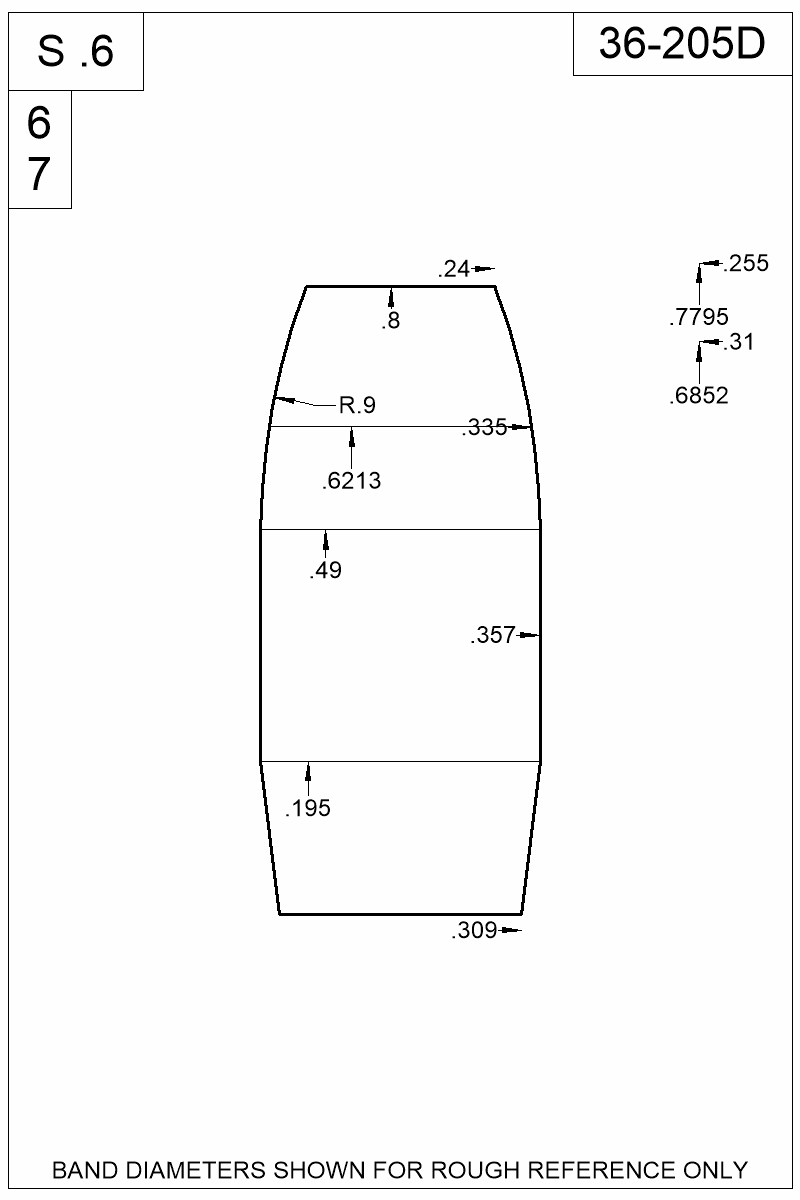 Dimensioned view of bullet 36-205D.