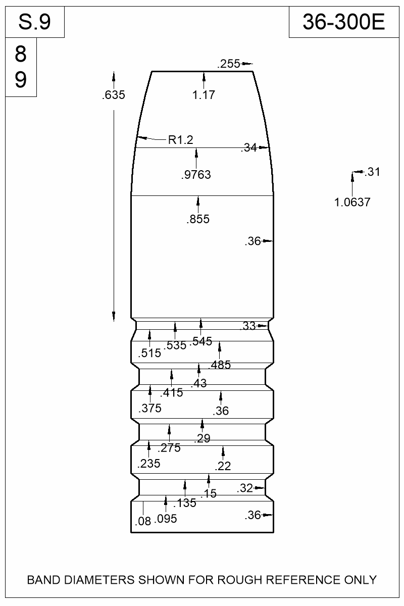 Dimensioned view of bullet 36-300E.