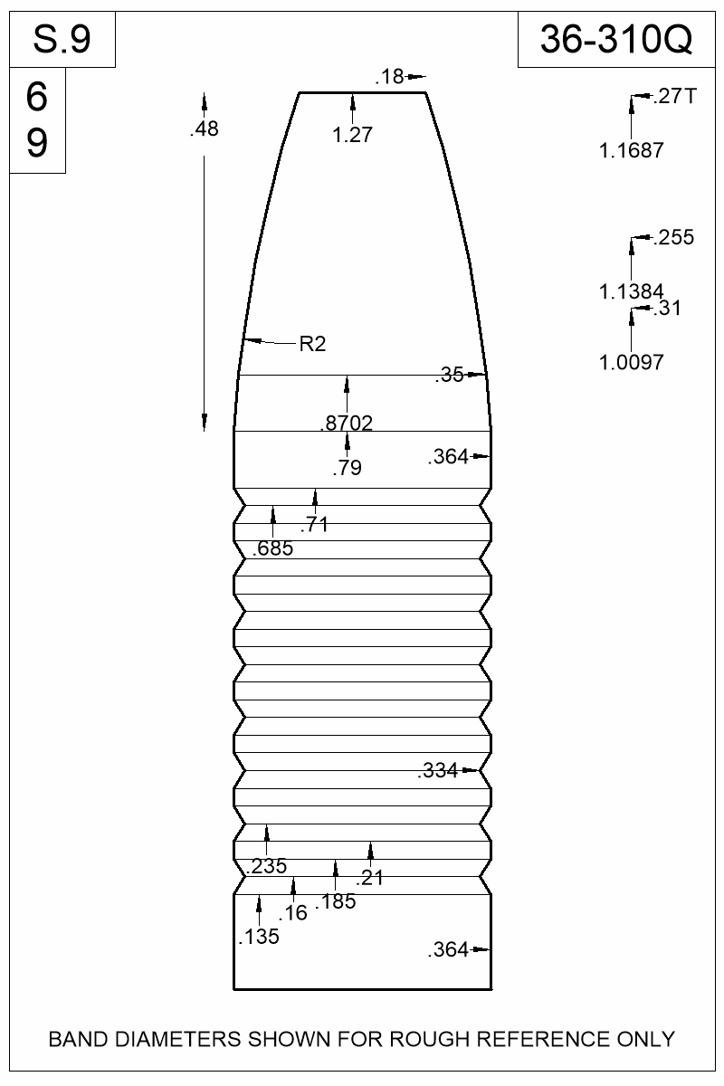Dimensioned view of bullet 36-310Q.
