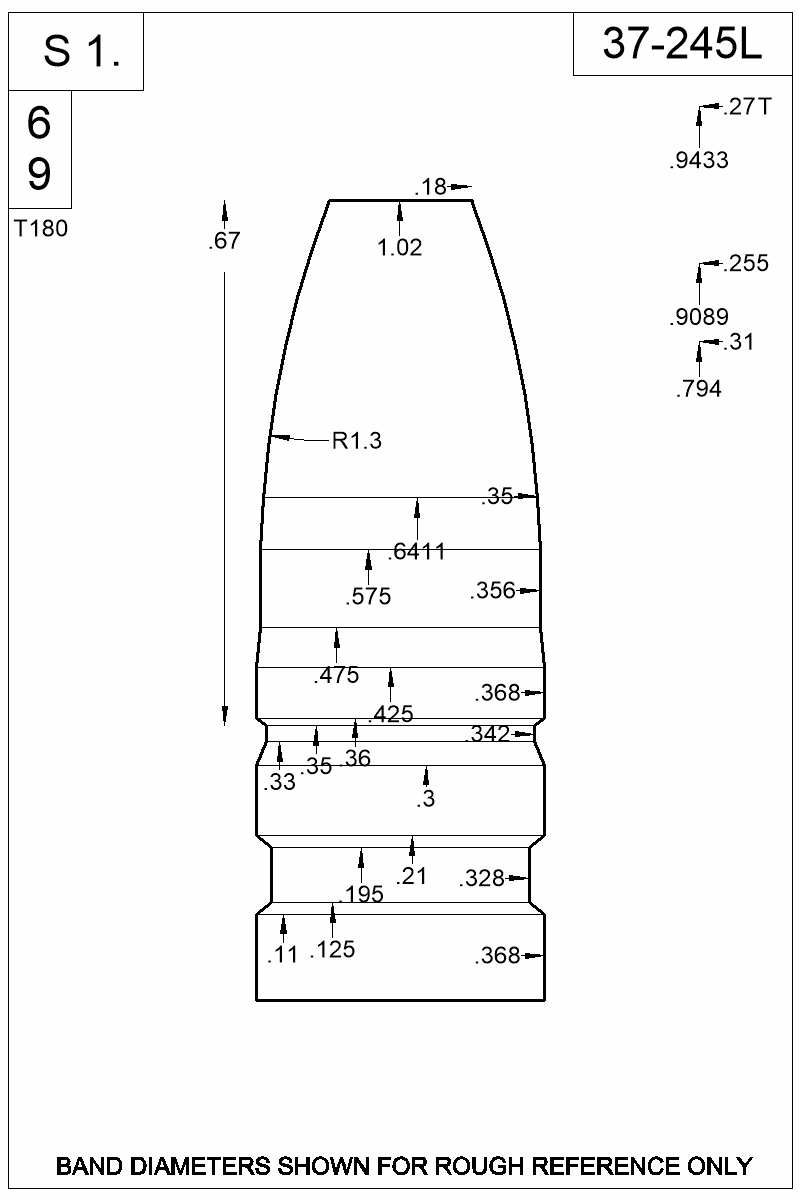 Dimensioned view of bullet 37-245L.