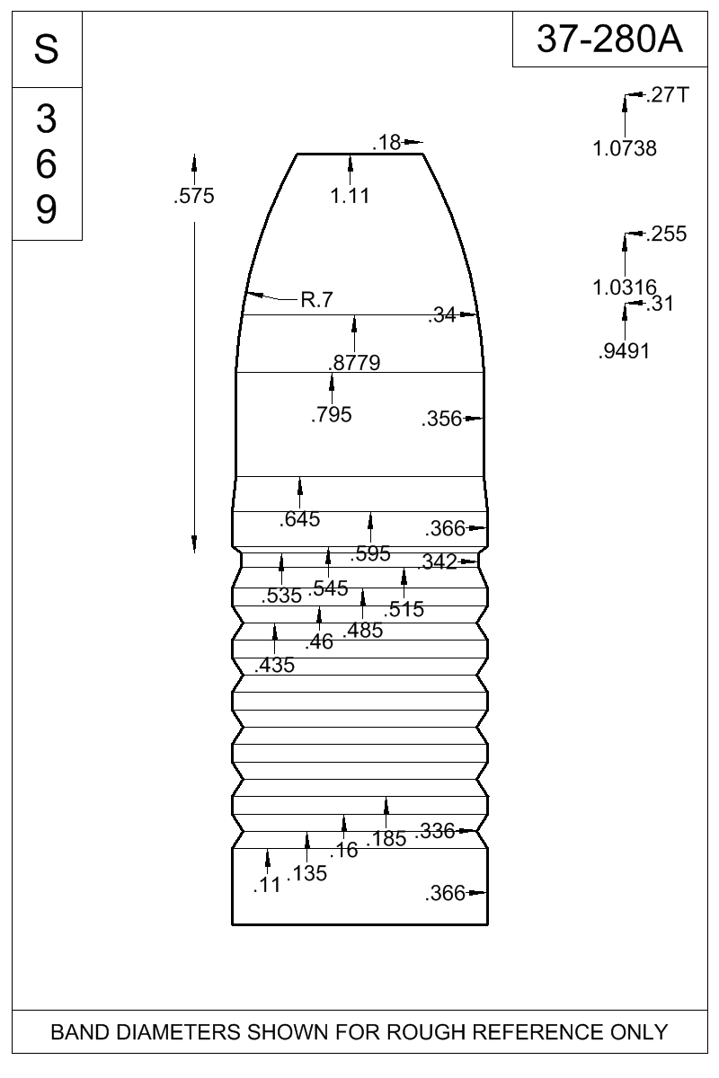 Dimensioned view of bullet 37-280A.