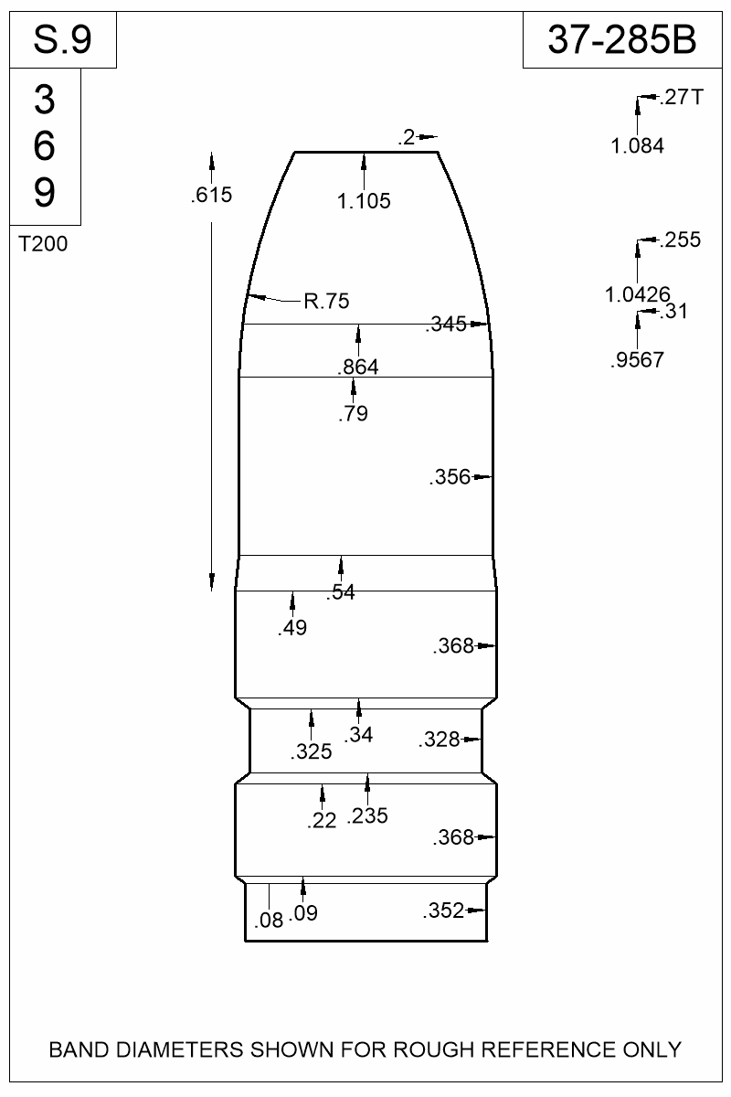 Dimensioned view of bullet 37-285B.