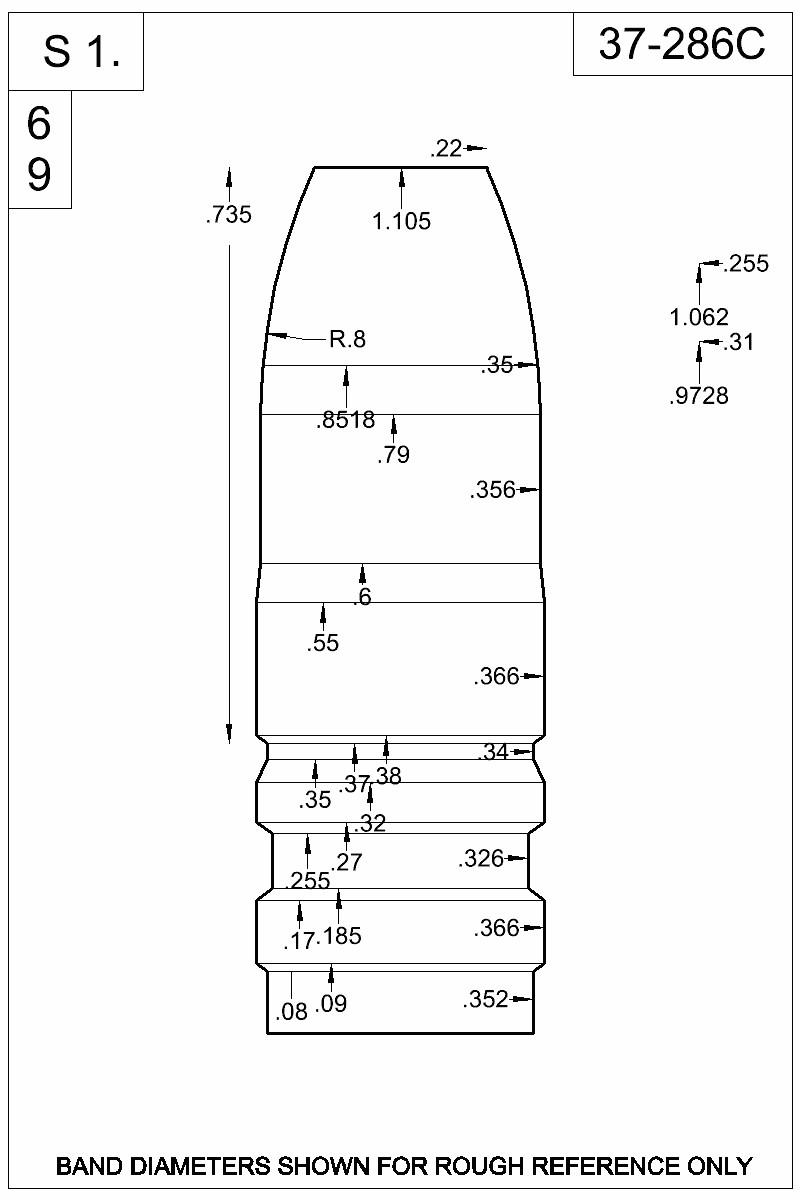 Dimensioned view of bullet 37-286C.