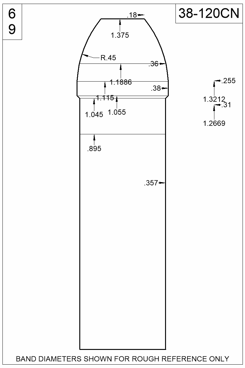 Dimensioned view of bullet 38-120CN.