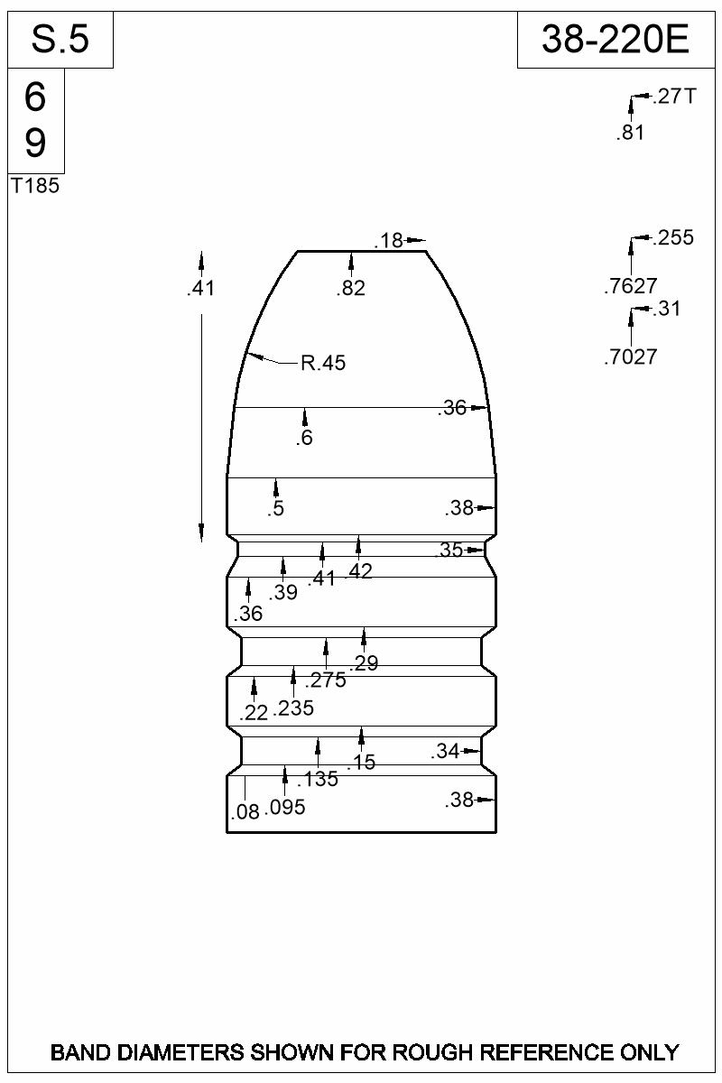 Dimensioned view of bullet 38-220E.